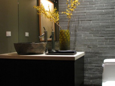 Downtown Chicago, Powder Room interior design, brushed granite tile wall | CME Interiors
