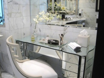 Elegant mirrored vanity, master bathroom | CME Interiors