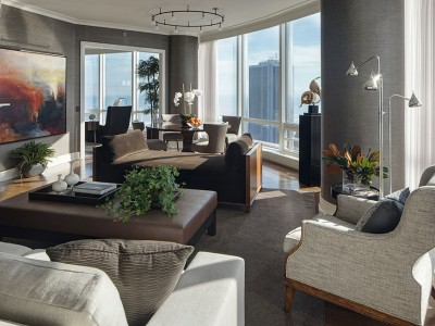 Open living/dining room, Chicago high-rise apartment | CME Interiors