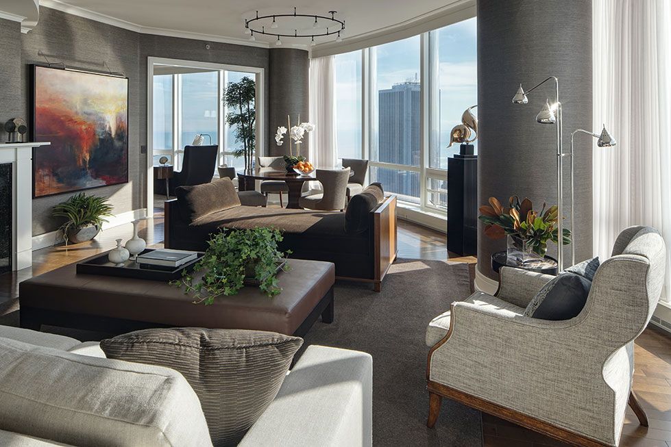 Open Living/dining Room Floor Plan In A Chicago High Rise Apartment.